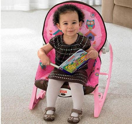 Массажное кресло-качалка Fisher-Price РОЗОВАЯ СОВА