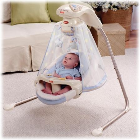 Fisher-Price колыбель-качели,  укачивающий центр для новорожденных  «Звездное сияние» (Starlight Papasan, Periwinkle) США