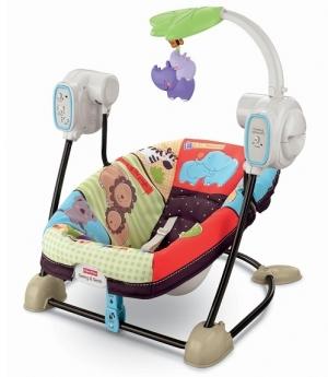 Качели портативные для новорожденных «Любимый зоопарк» Fisher-Price Space Saver Swing and Seat, Luv U Zoo