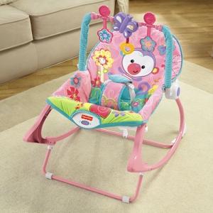 Массажное кресло-качалка с музыкой «Розовая  обезьянка» Fisher-Price от рождения и до 3-х лет
