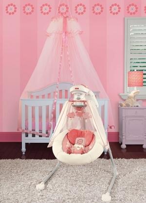 Fisher-Price укачивающий центр для новорожденного «Коралловый цветочек»  Cradle 'n Swing, Coral Floral