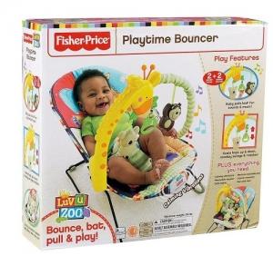 Шезлонг детский Фишер прайс «Любимый зоопарк», Fisher Price Playtime Bouncer Luv u zoo
