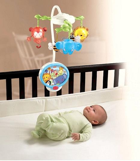Мобиль на детскую кроватку Fisher-Price с мерцающими огнями и проектор Звездное небо (два в одном)