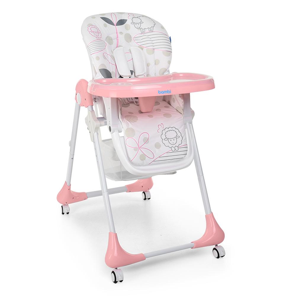 Стульчик для кормления с регулируемой спинкой Bambi M 3233 Lamb Light Pink