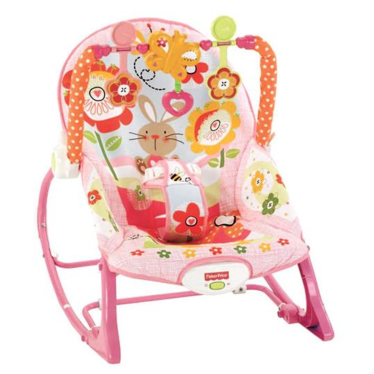 Кресло- качели ЗАЙКА (РАСТЕМ ВМЕСТЕ) Fisher-Price Y4544 с музыкой и вибрацией