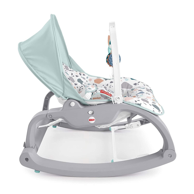 Детский шезлонг - кресло-качалка Fisher- Price люкс-класса МОРСКИЕ КАМУШКИ от 0 до 18 кг