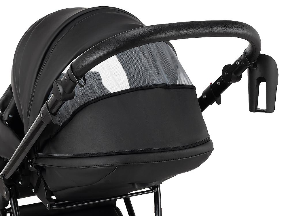 Коляска 2 в 1 Bair Infinity кожа 100% BI-2230-AMO black (черный)