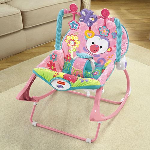 Массажное кресло-качалка с музыкой РОЗОВАЯ ОБЕЗЬЯНКА Fisher-Price от рождения и до 3-х ле