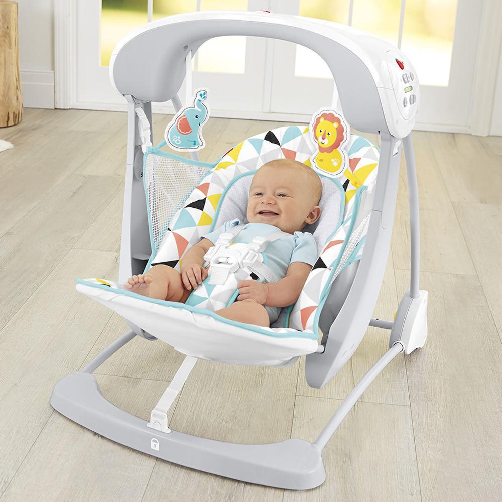 Детские качели Fisher-Price кресло-качели с технологией Умное качание САФАРИ ПЛЮС