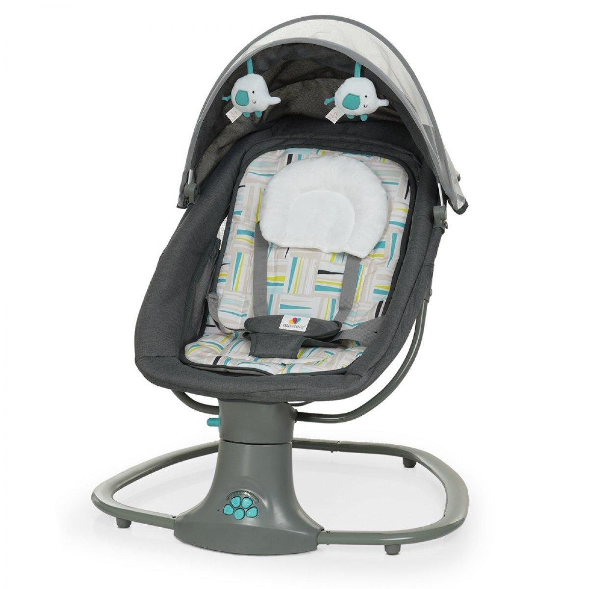 Детский укачивающий центр с капюшоном Mastela deluxe 8105 темно-серый с мятным