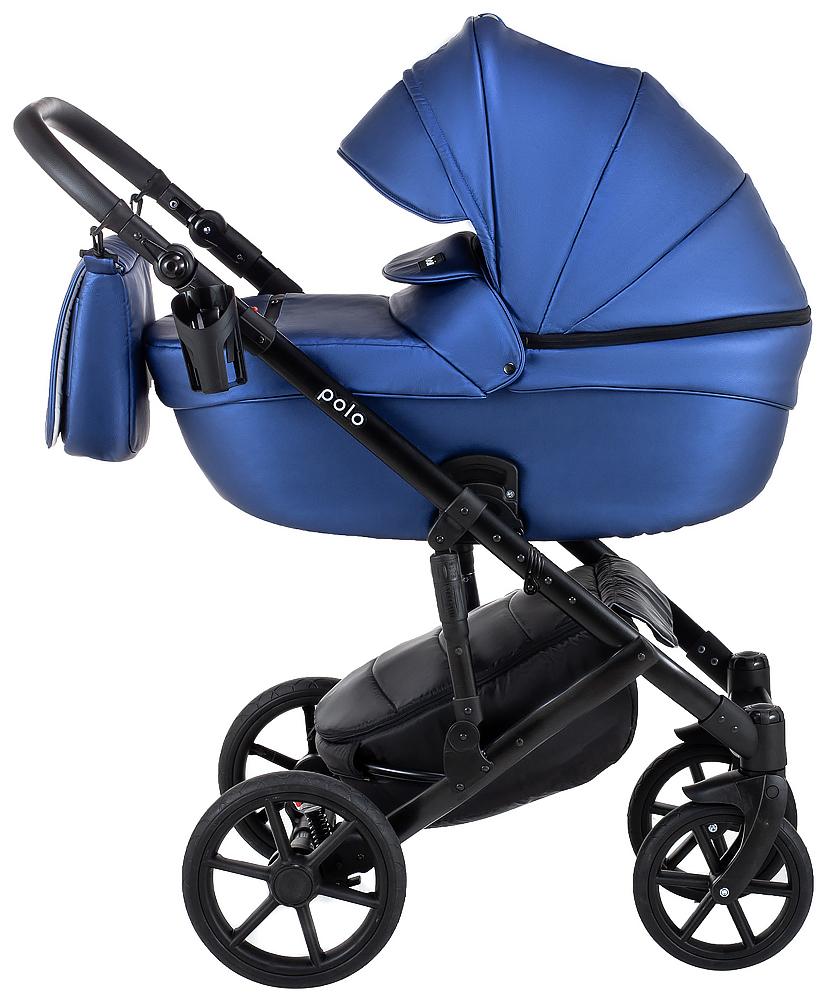 Коляска 2 в 1 Bair Polo (Black) кожа 100% 38 темно-синий (перламутр)