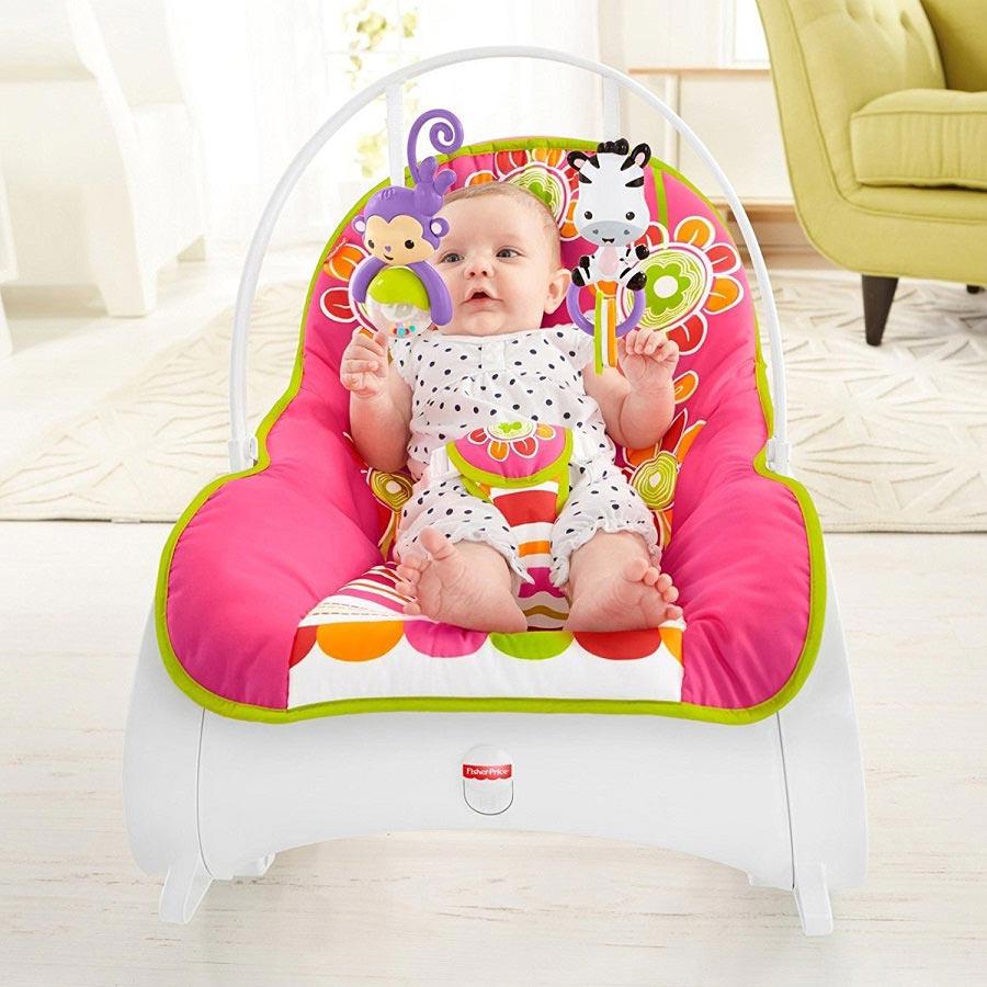 Детское кресло-шезлонг Fisher-Price ЦВЕТОЧНОЕ КОНФЕТТИ, от 0 до 18 кг. Оригинал США