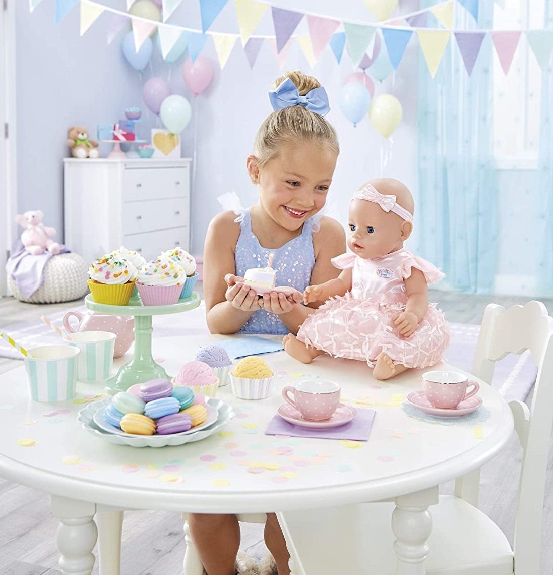 Интерактивная кукла Беби Борн День Рождение с тортом пупс Baby Born девочка голубоглазая Zapf оригинал