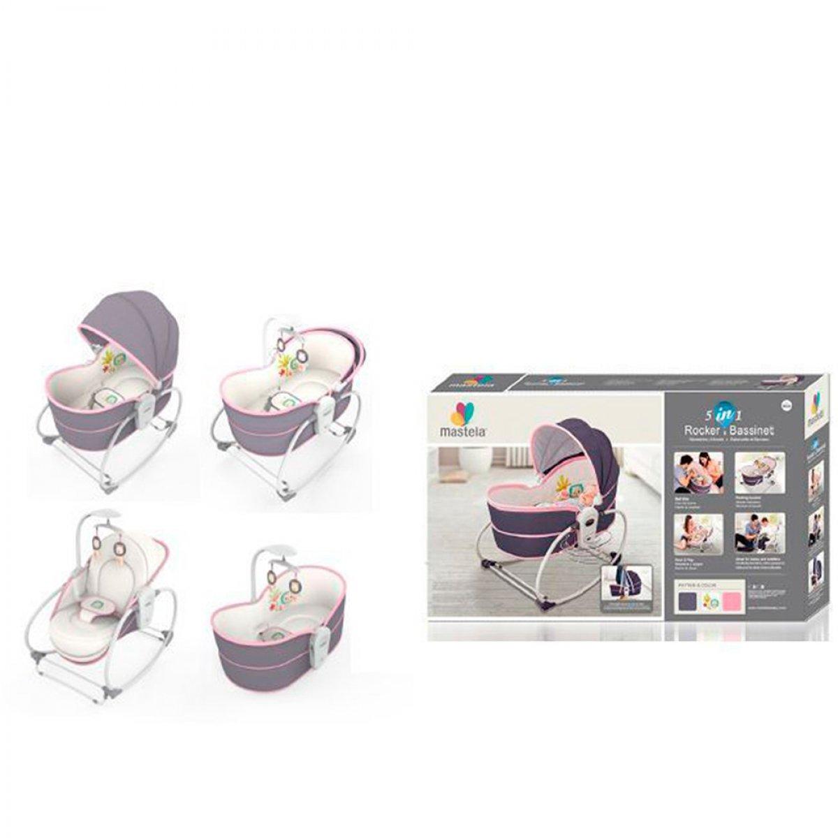 Кресло- качалка люлька - баунсер Mastela 5 в 1 для новорожденной девочки