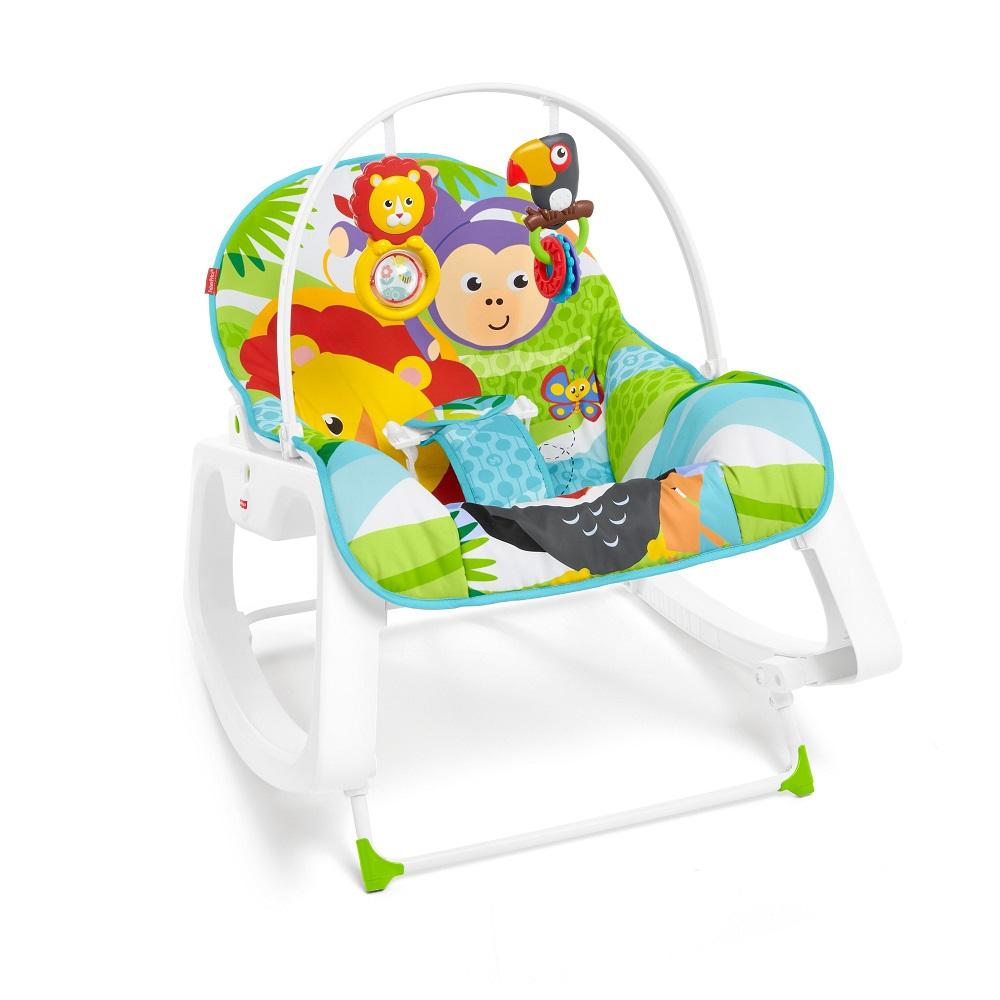 Массажное кресло-качалка Fisher-Price ЗЕЛЕНЫЕ ДЖУНГЛИ и для новорождённых, и для детей до 18 кг