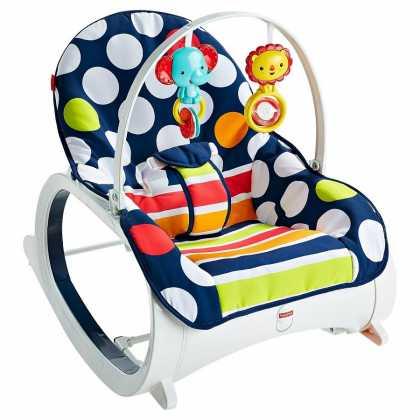 Детское кресло-качели шезлонг Fisher-Price СИНИЙ ГОРОШЕК для новорожденных и для 3-х леток