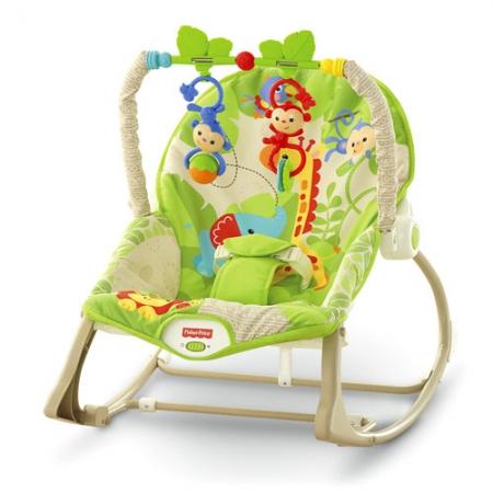 Массажное кресло-качалка Fisher-Price «Веселые обезьянки»  для детей от рождения и до 3-х лет