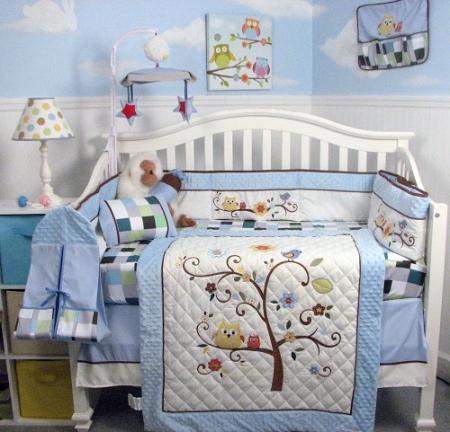 Комплект в детскую кроватку 12 предметов  Голубое деревце SoHo Designs США
