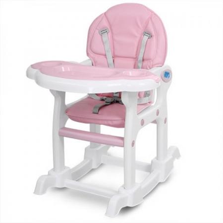 Стульчик для кормления, трансформер 3в1 (стульчик для кормления/столик+стульчик/качалка), BAMBI M 1563-8-1 розовый
