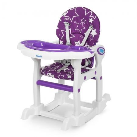 Стульчик для кормления, трансформер 3в1 (стульчик для кормления/столик+стульчик/качалка), BAMBI M 1563-9 фиолетовый