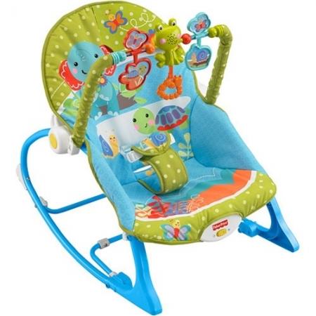 """Детское  кресло-качели  Fishe-Price с музыкой и вибрацией """"Слоненок и друзья""""  от 0 до 18 кг"""