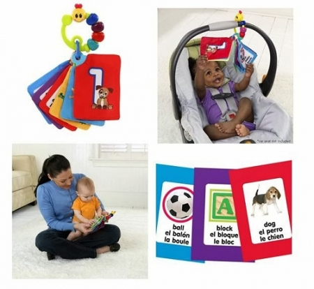 Развивающая мягкая книжечка-подвеска на коляску Беби Энштейн для самых маленьких Baby Einstein Take Along Discovery Cards