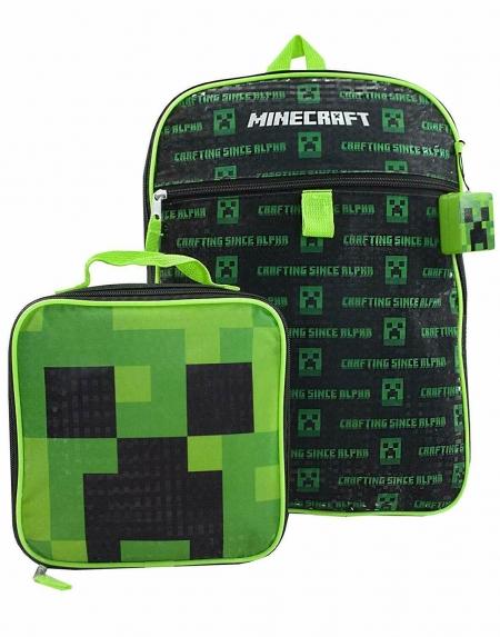 Школьный набор Майнкрафт из 5 элементов - Рюкзак Minecraft, ланч бокс, термос