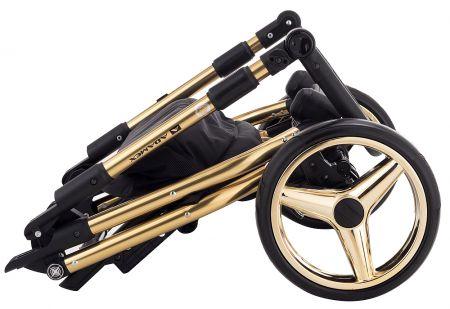 Коляска 2 в 1 Adamex Sierra Polar (Gold) SR436 черный (люрикс) - золотой кожа (перфорация)