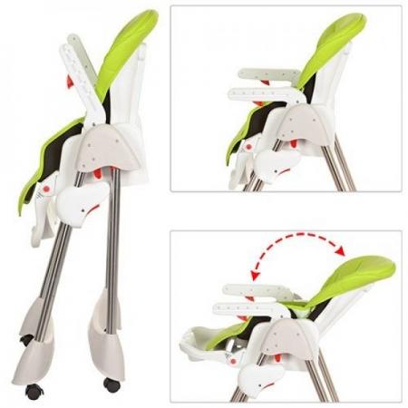 Стульчик для кормления, регулируется спинка, Bambi M 3216-2-5 зеленый