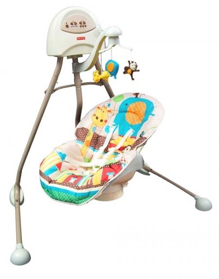 Укачивающий центр, колыбель качели для младенцев «Африка» Fisher-Price Cradle 'N Swing – Berceau