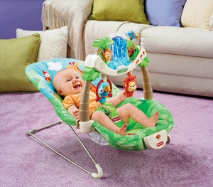 Шезлонг детский «Джунгли» (Тропический лес) Fisher Price с музыкальной игровой панелью