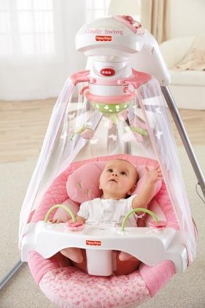 Укачивающий центр, электронные качели для новорожденных «Сад бабочек» Fisher Price Papasan Cradle Swing, Butterfly Garden со световым проектором
