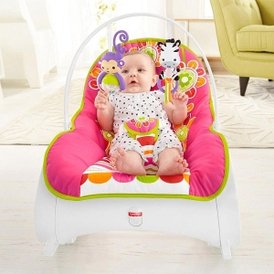 Fisher-Price детское  массажное кресло-качалка Фишер прайс «Цветочное конфетти» от 0 до 18 кг