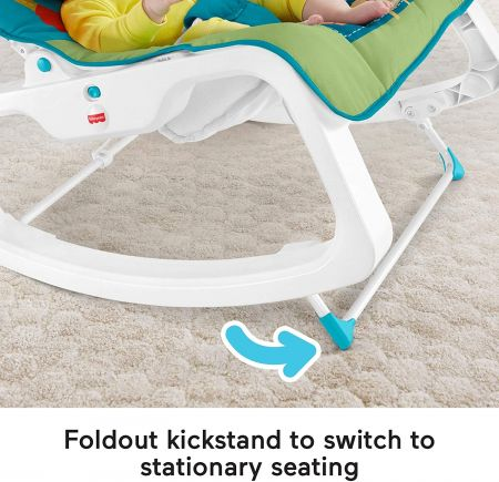 Детское массажное кресло-качалка Fisher-Price РАЗНОЦВЕТНЫЕ ДЖУНГЛИ от 0 до 18 кг