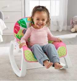 Массажное кресло-качалка Fisher-Price РОЗОВОЕ САФАРИ и для новорождённых, и для детей до 18 кг