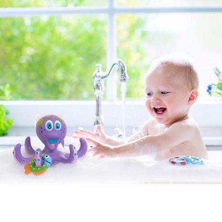 Интерактивная игрушка для ванны Nuby Фиолетовый Осьминог с 3 кольцами ПЕННАЯ ВЕЧЕРИНКА